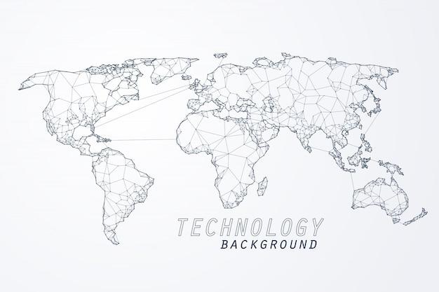 Abstract della rete mondiale, edge e vertice della connessione mondiale