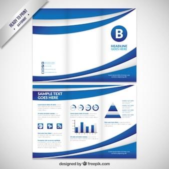 Abstract onde azzurre brochure pieghevole a tre
