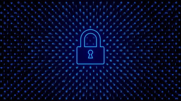 Abstract tech bg con serratura. protezione dell'accesso.