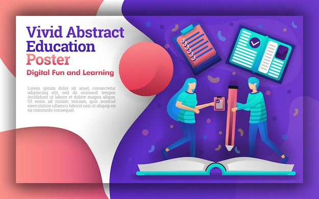 Abstract vivid illustrazione di educazione e apprendimento