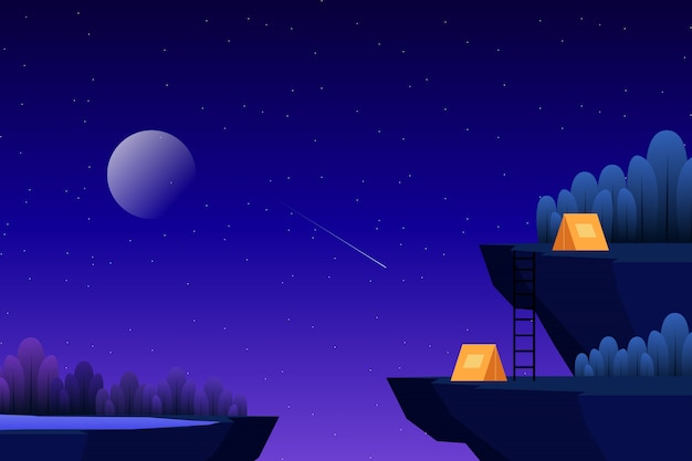 Accampandosi sul picco di altezza con l'illustrazione della foresta di notte stellata