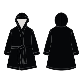 Accappatoio unisex con disegno tecnico in colore nero. accappatoio domestico isolato.