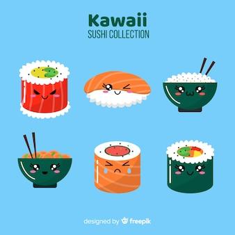 Accattivante collezione di sushi disegnata a mano
