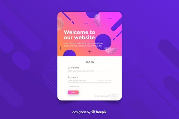 Accedi landing page con forme geometriche su sfondo colorato