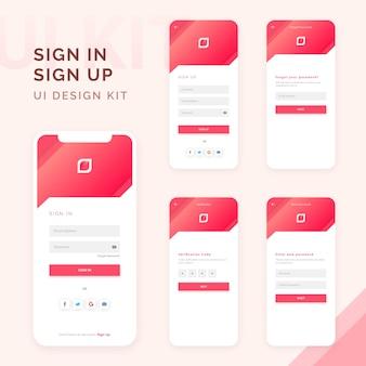 Accedi, registrati kit di progettazione della pagina del modulo dello schermo per lo sviluppo di app, modelli di smartphone, elementi dell'interfaccia utente di accesso, registrazione, profilo utente, accesso all'account