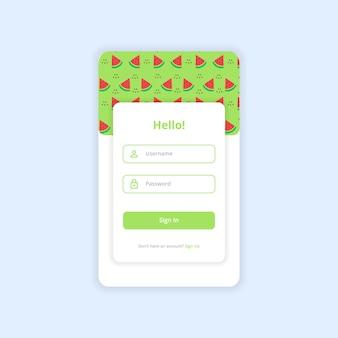 Accedi ui design template vector