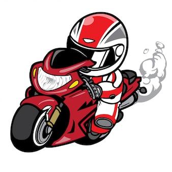 Accelerando il vettore del fumetto del corridore del motociclo