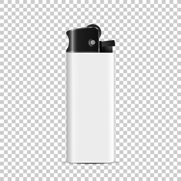 Accendino bianco di plastica, vettore realistico 3d eliminabile isolato