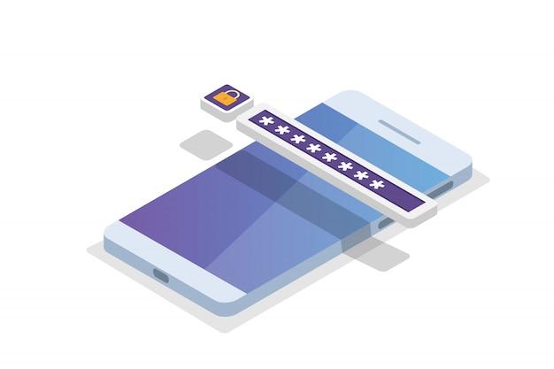 Accesso ai dati, concetto isometrico della password. modulo di accesso sullo schermo. illustrazione.
