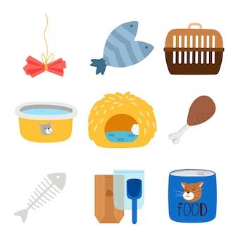 Accessori e cibo di vettore per le icone dei gatti messe