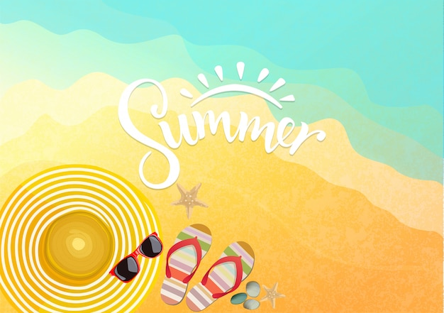 Accessori estivi sulla spiaggia di sfondo