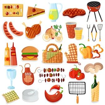 Accessori per barbecue collezione di icone alla moda