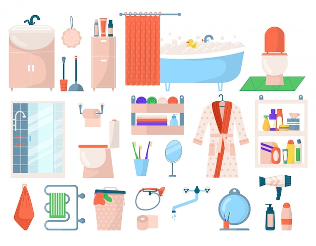 Accessori per l'igiene del bagno, elementi termali per la cura personale del bagno impostati su illustrazioni bianche. articoli da toeletta prodotti da bagno igienici, sapone, flaconi di shampoo, gel doccia per icone per la cura del corpo.