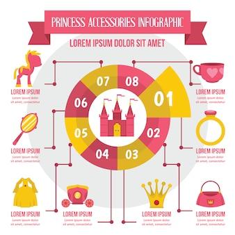 Accessori principessa infografica, stile piatto