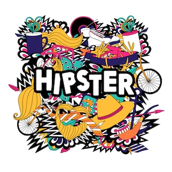 Accessori stile di vita hipster e composizioni di simboli di moda con pipe e baffi finti