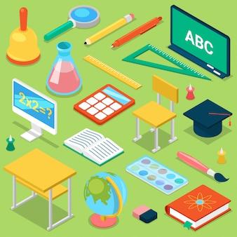 Accessorio scolastico di istruzione dei rifornimenti di scuola per la cancelleria educativa degli scolari per lo studio nell'insieme isometrico dell'illustrazione dell'aula di isolato su fondo