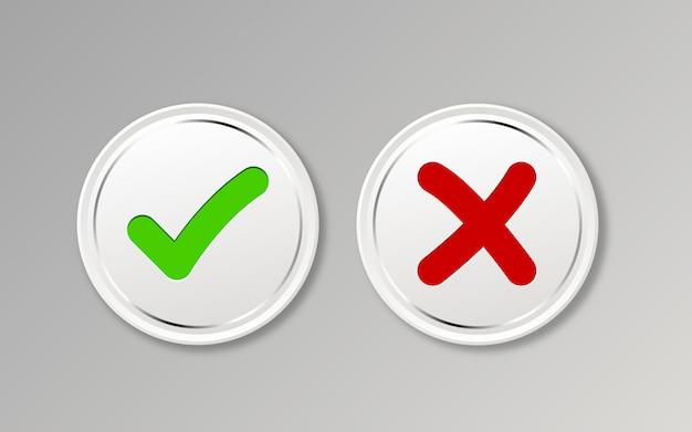 Accettato / rifiutato, approvato / non approvato, sì / no, giusto / sbagliato, verde / rosso, corretto / falso, ok / non ok.