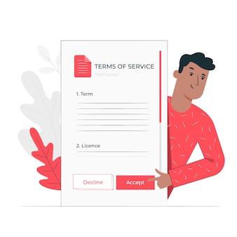 Accetti i termini illustrazione concetto di legge