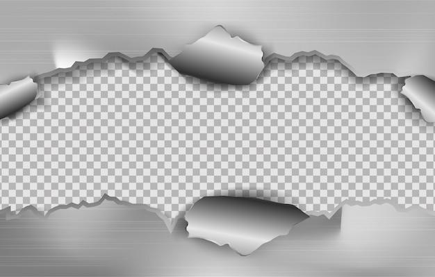 Acciaio strappato su sfondo di metallo. carta strappata o trama in acciaio.