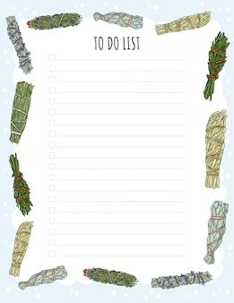 Accogliente agenda settimanale boho e lista delle cose da fare con l'ornamento di bastoncini di sbavature.