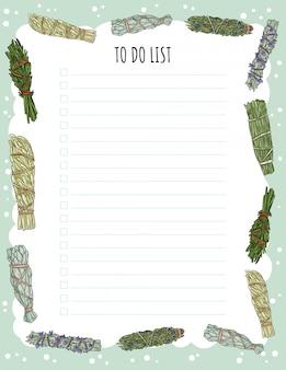 Accogliente agenda settimanale boho e lista delle cose da fare con l'ornamento di bastoncini di sbavature