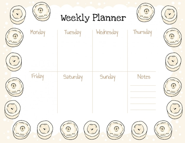 Accogliente agenda settimanale boho e lista delle cose da fare con l'ornamento di candele.
