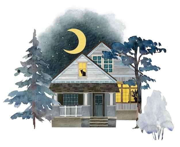 Accogliente casa di campagna con disegno ad acquerello