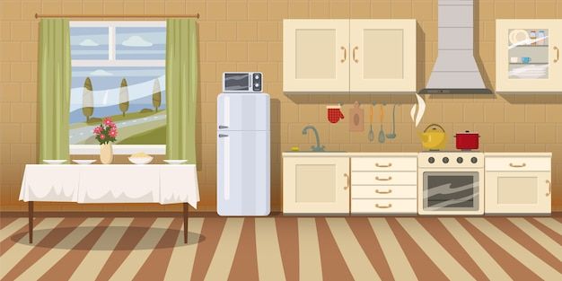Accogliente interno cucina con tavolo, piano cottura, armadio, stoviglie e frigorifero