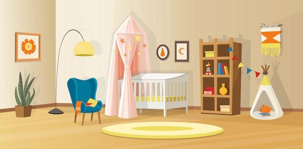 Accogliente interno per bambini con giocattoli, culla, libreria, poltrona, tenda per bambini e lampada. interno di vettore scandinavo in stile cartone animato.