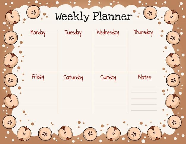 Accogliente pianificatore settimanale autunnale e lista delle cose da fare con l'ornamento di mele