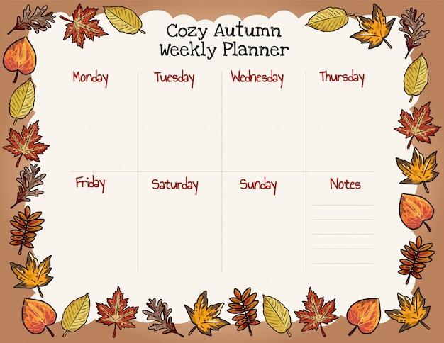 Accogliente pianificatore settimanale autunnale e lista di cose da fare con l'ornamento di foglie di autunno.