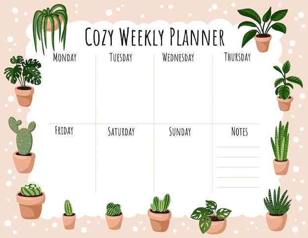 Accogliente pianificatore settimanale e lista di cose da fare con l'ornamento di piante succulente in vaso hygge. modello carino lagom per agenda, pianificatori