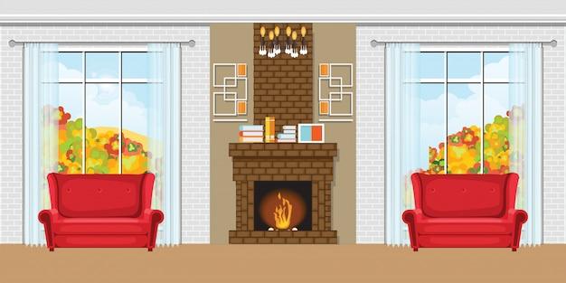 Accogliente salotto interno con camino e sedie rosse.