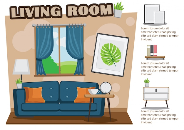 Accogliente soggiorno con divano, libro, tavolo, cornice sul muro marrone.