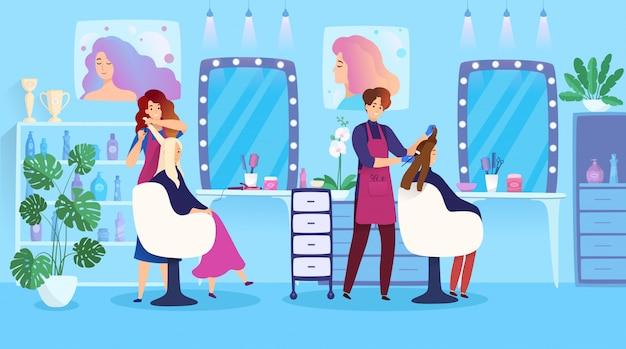Acconciatura della donna nel salone di bellezza, personaggi dei cartoni animati della gente di tintura per capelli, illustrazione