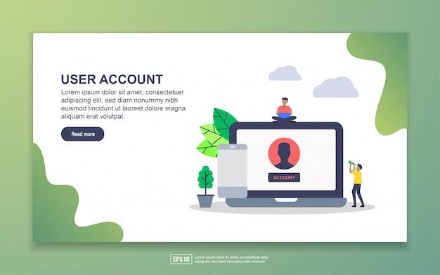 Account utente con atterraggio di personaggi minuscoli