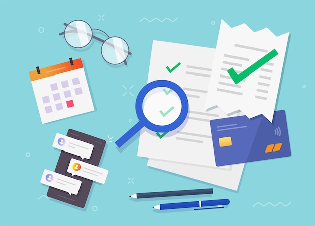 Accounting office concept flat lay table working desk top view illustration, financial audit tax research of salary ways document reports