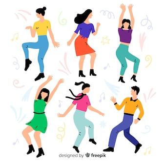 Accumulazione ballante della gente disegnata a mano