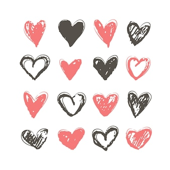 Accumulazione dell'illustrazione del cuore disegnato a mano