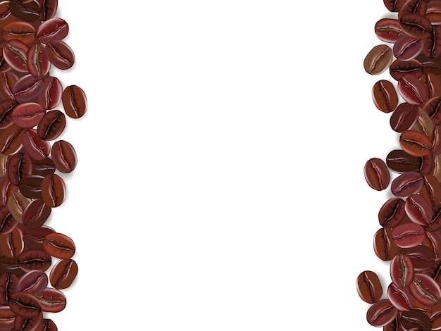 Accumulazione della priorità bassa dei chicchi di caffè con area bianca per lo spazio della copia.
