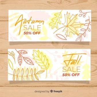 Accumulazione delle bandiere di vendita autunno disegnato a mano