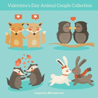 Accumulazione delle coppie animali di san valentino disegnato a mano