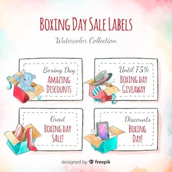 Accumulazione delle etichette di vendita di giorno di boxe dell'acquerello