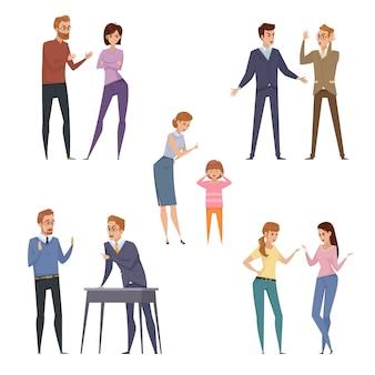 Accumulazione delle icone di litigio con la discussione delle persone nelle situazioni differenti nel vettore isolato di stile piano i