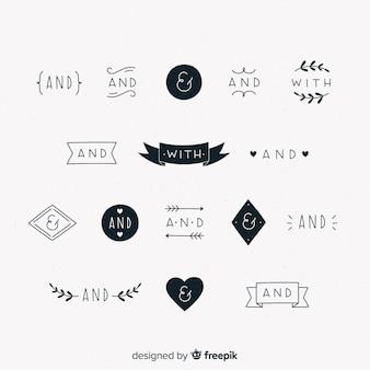 Accumulazione delle parole d'ordine di nozze disegnate a mano