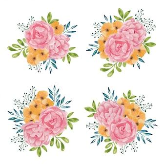 Accumulazione di bello mazzo del fiore della rosa dell'acquerello