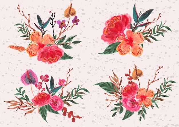 Accumulazione di disposizione dei fiori dell'orchidea in acquerello