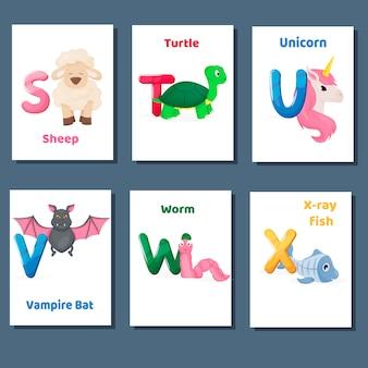 Accumulazione di vettore di flashcard stampabile di alfabeto con la lettera stuvw x. animali dello zoo per l'istruzione di lingua inglese.