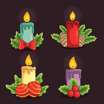 Accumulazione disegnata a mano della candela di natale