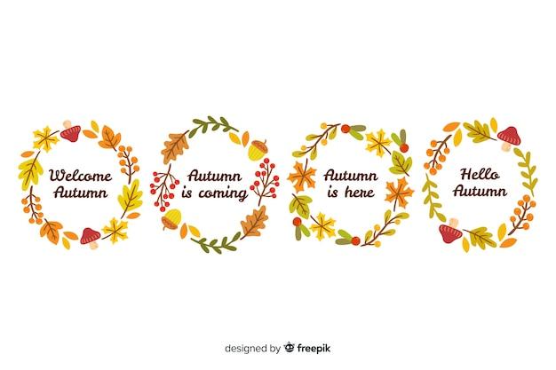 Accumulazione disegnata a mano della corona delle foglie di autunno